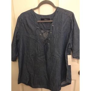 NWT denim cage neck top